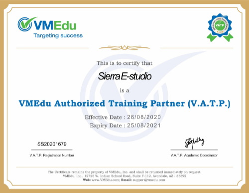 SiERRA eStudio is VMEdu Authorized Training Partner (V.A.T.P.) for Scrum, Agile and other Certification Courses
